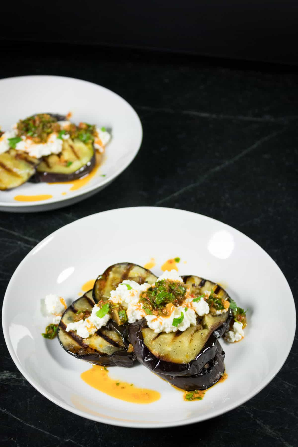 grilled eggplant with moroccan gremolata