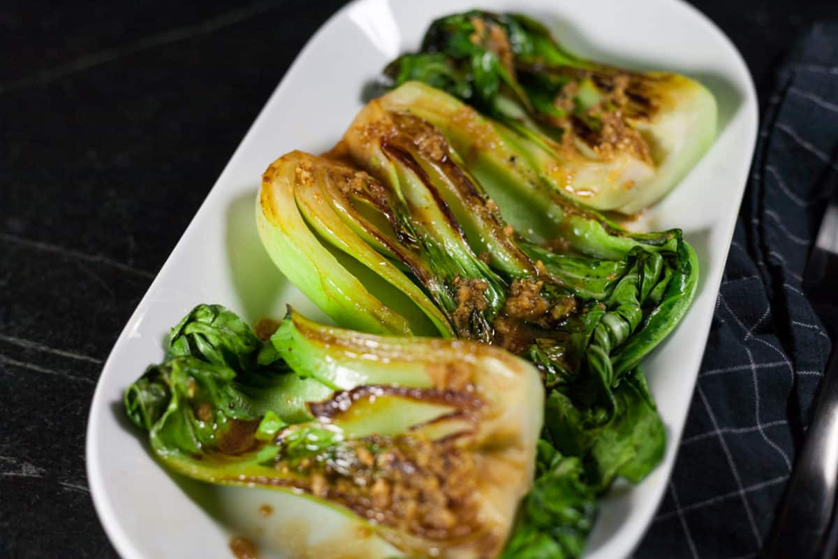 Seared Bok Choy with Garlic and Ginger