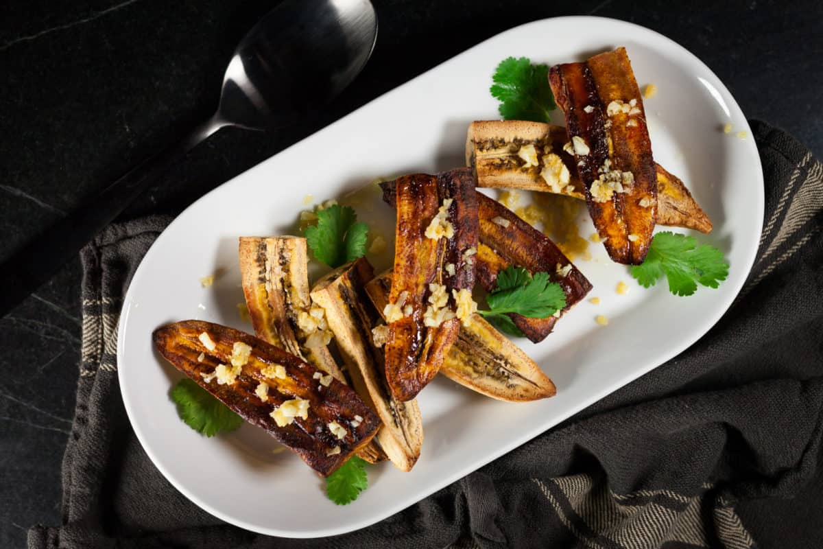 Baked Plantains with Garlic and Butter