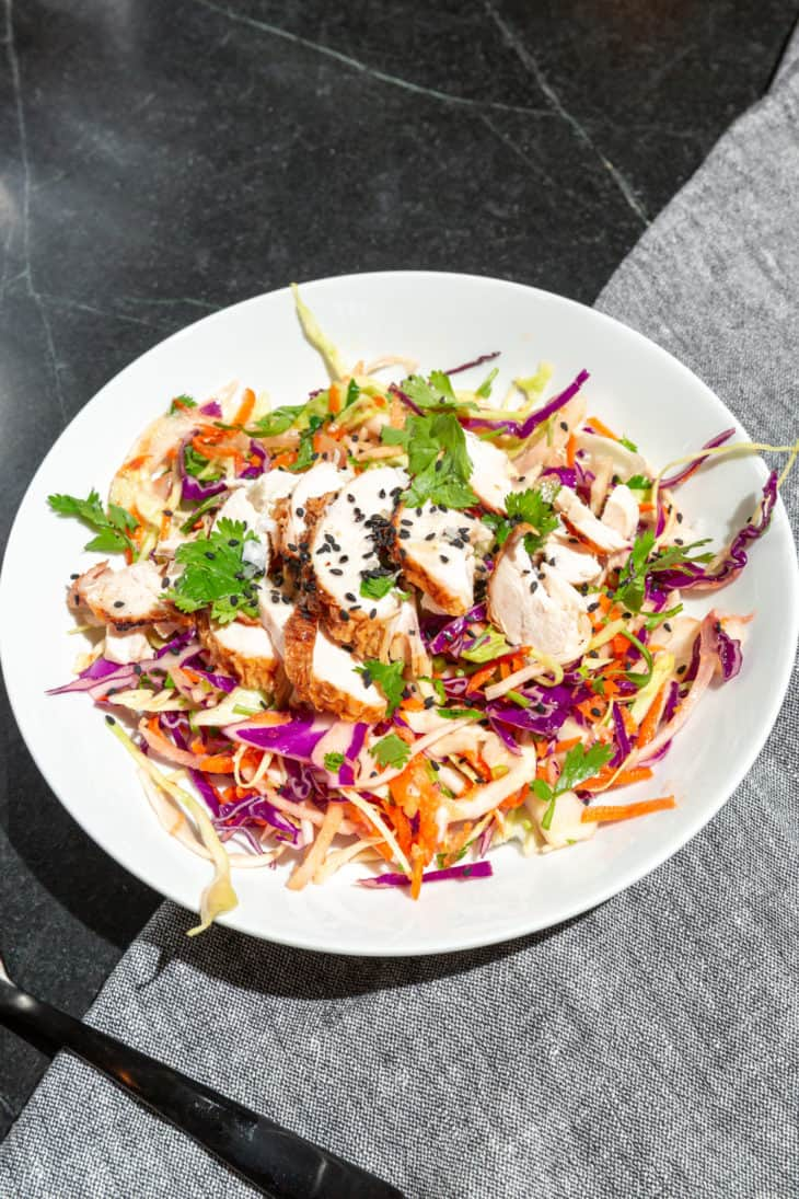 Sesame Cabbage Salad with Chicken and Green Apple