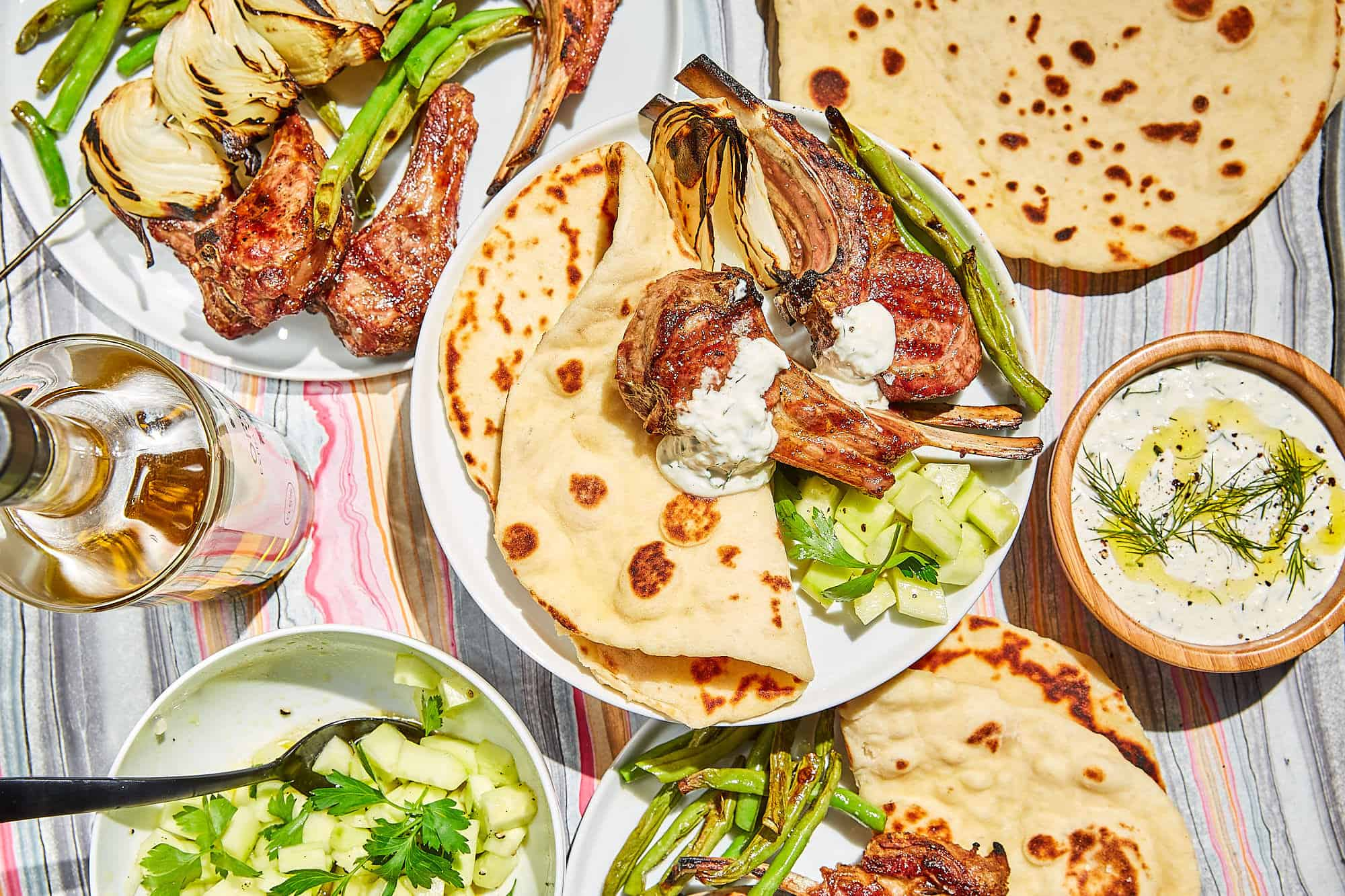 Quick Yogurt Flatbread and Grilled Lamb